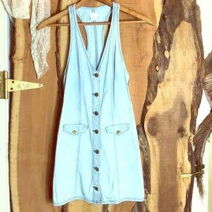 COOPERATIVE UO Light Wash Denim Mini Dress XS